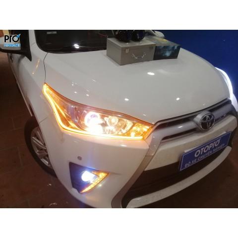 Toyota Yaris lên Bi pha Aozoom Jaquar - Bi gầm Led Aozoom