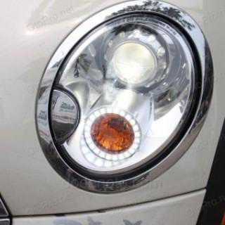 Độ vòng angel eyes LED chóa lens cho xe Mini Cooper
