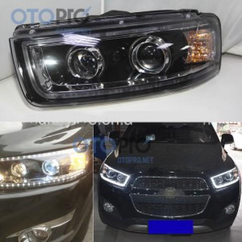 Đèn pha độ LED nguyên bộ cho xe Captiva 2015 mẫu 2 bi