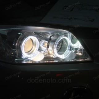 Độ đèn bi xenon, angel eyes LED kiểu BMW cho xe Captiva