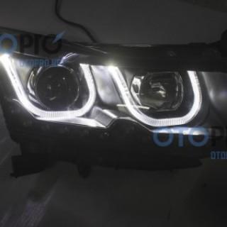 Đèn pha độ LED cho xe Lacetti/Cruze mẫu BMW chữ U kiểu 2