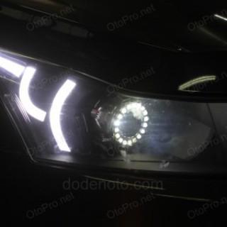 Độ bi xenon, angel eyes len, LED mí khối kiểu Range Rover Evoque cho Cruze mẫu 2