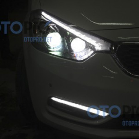 Độ đèn bi xenon, đèn gầm LED daylight cho xe Kia K3