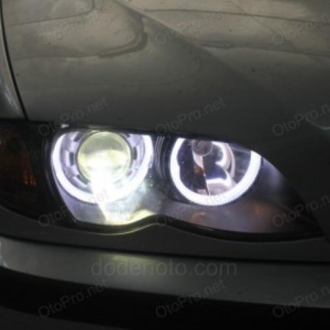 Độ đèn bi xenon, vòng LED khối trắng vàng cho BMW 318i