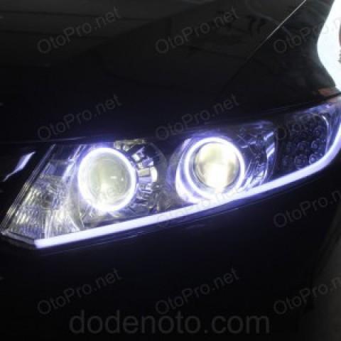 Độ 2 bi xenon, angel eyes LED, mí khối trắng vàng, xi nhan qblock cho Civic 2013