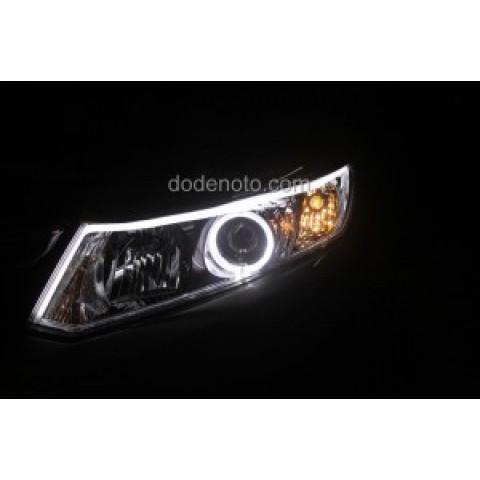Độ dải LED mí khối trắng vàng, angel eyes BMW cho Honda Civic 2013