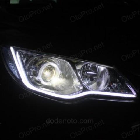 Độ bi xenon,LED mí khối trắng vàng, angel eyes BMW cho Civic