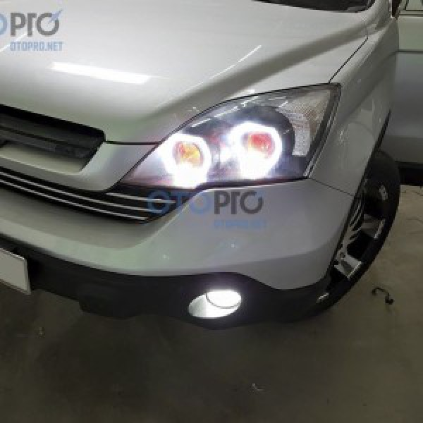 Honda CR-V 2011 độ 2 bi xenon, angel eyes LED, mắt quỷ đỏ