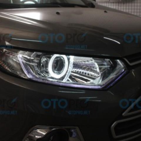 Độ đèn Bi-Xenon Q5, vòng Angel eyes 2 màu cho Ford Ecosport 2014