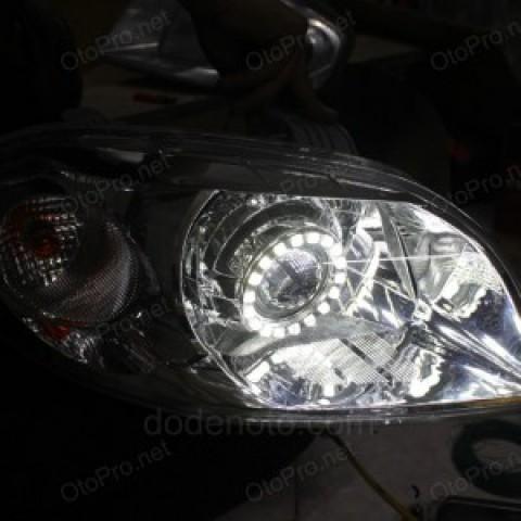 Độ đèn bi Xenon, Projector, Angel Eyes LED cho xe Gentra