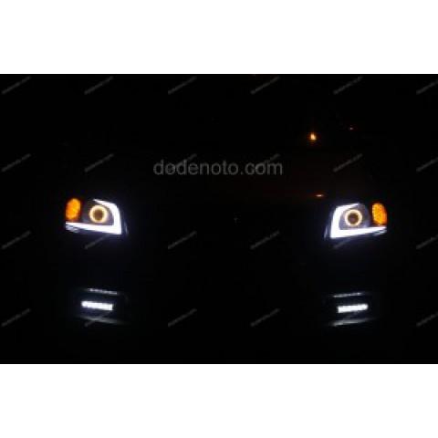 Độ đèn bi Xenon, Angel Eyes, LED mí khối, đèn gầm Daylight cho Gentra