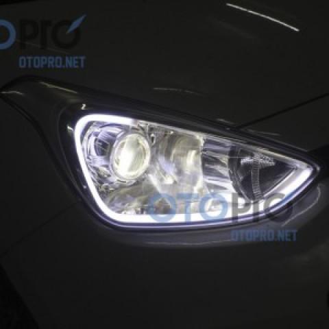 Độ đèn bi xenon Q5, LED mí khối trắng vàng xe Grand i10