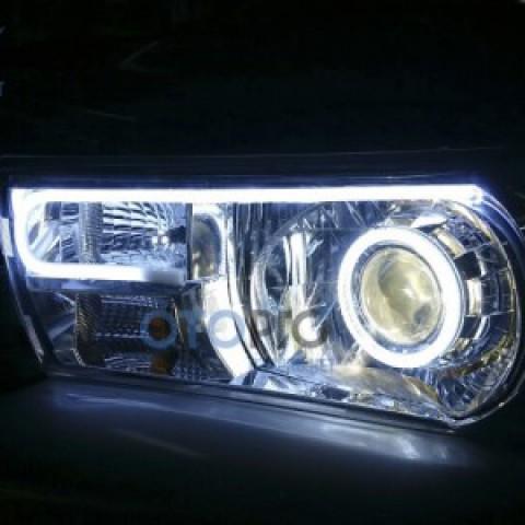Toyota Hilux 2016 độ đèn bi xenon, angel eyes, LED mí khối