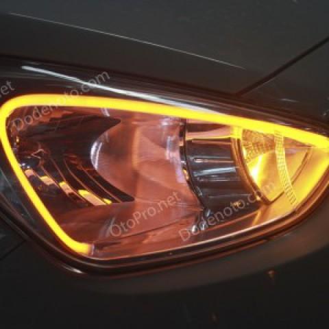 Độ dải LED mí khối trắng vàng cho xe Hyundai i10 mẫu 2