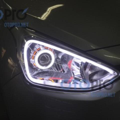 Độ đèn bi xenon, angel eyes LED mí khối trắng vàng i10