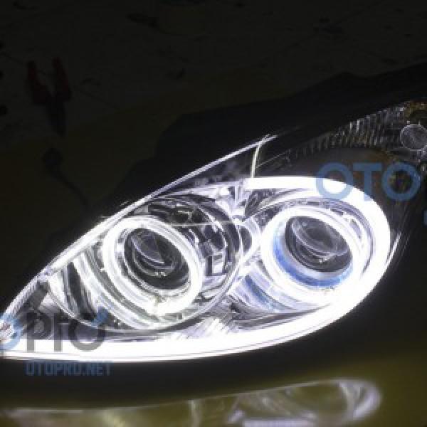 Độ bi xenon, angel eyes, LED mí khối cho xe i30