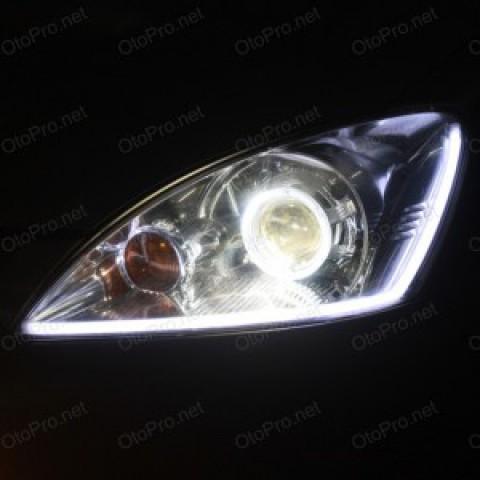 Độ bi xenon, angel eyes BMW, dải LED mí khối Lancer Gala