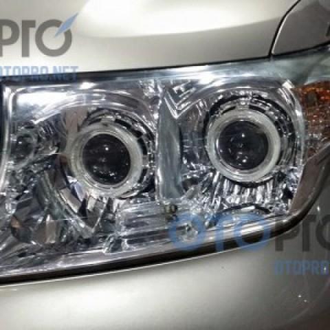 Độ đèn pha bi xenon, angel eyes LED xe Land Cruiser
