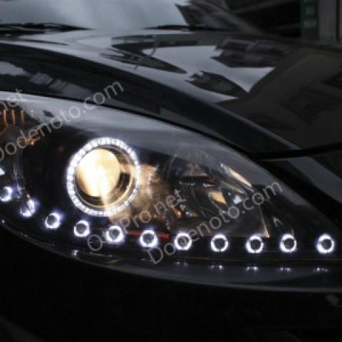 Độ đèn LED mí Oblock, vòng angel eyes UFO cho xe Mazda 3