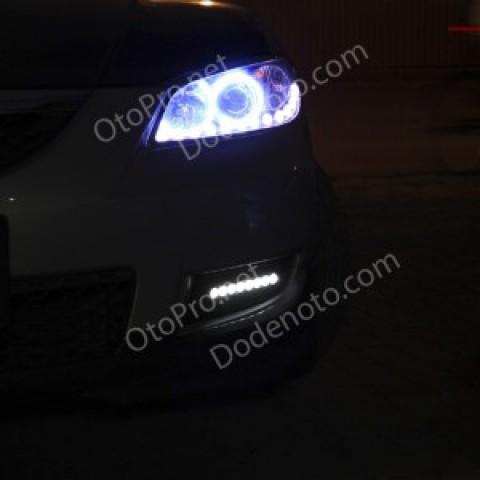 Độ LED mí Oblock, Angel Eyes khối, đèn gầm Daylight cho Mazda 3