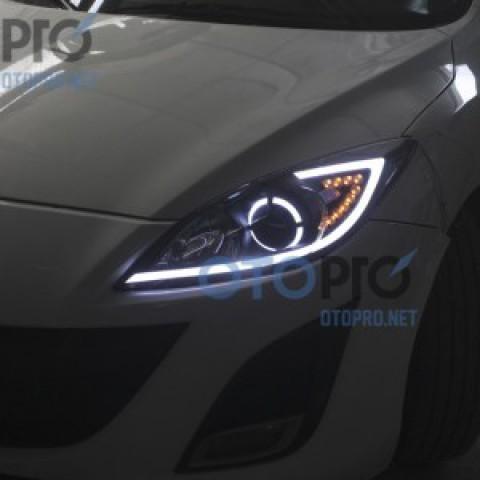 Mazda 3S độ bi xenon, LED mí khối, xi nhan, angel eyes mẫu Jaguar