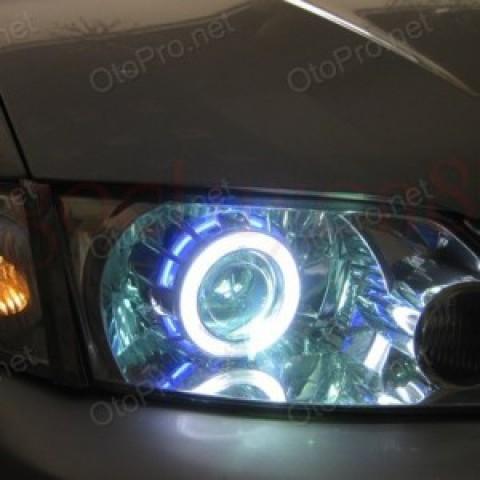 Độ đèn bi xenon, angel eyes LED cho xe Mazda Premacy