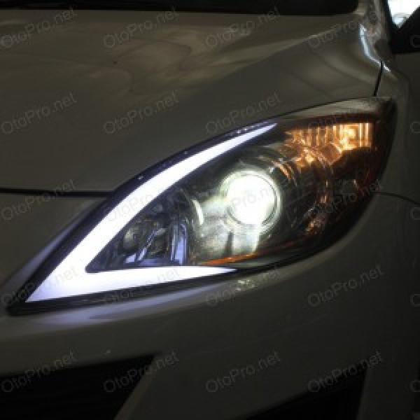 Độ LED mí khối, đèn gầm daylight, xi nhan gương Mazda 3