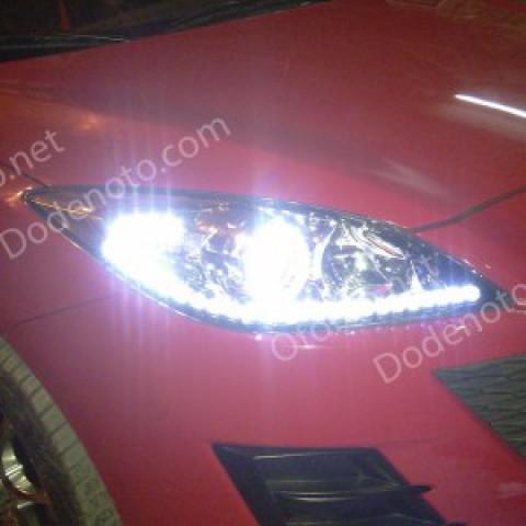 Độ LED mí oblock, angel eyes, đèn gầm daylight cho Mazda 3