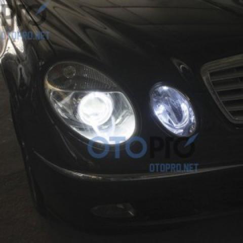 Độ đèn bi xenon, angel eyes LED cho xe Mercedes E240