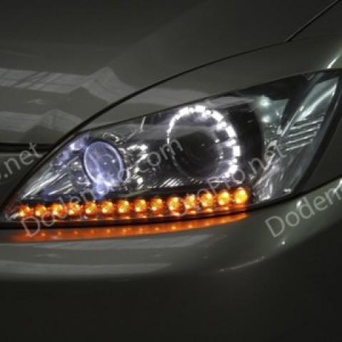 Độ đèn bi xenon, dải LED mí q-block Mitsubishi Lancer 2003