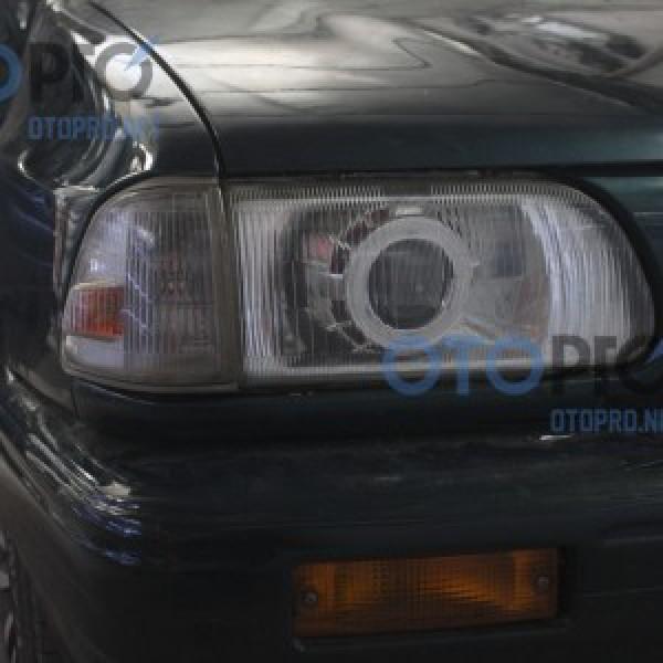 Độ đèn bi xenon, angel eyes LED cho xe Kia Pride