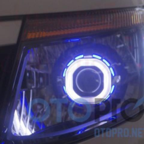 Độ đèn bi xenon, angel eyes LED cho xe Ford Ranger 2013-2015 mẫu vuông