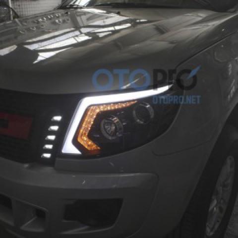 Đèn pha độ nguyên bộ xe Ford Ranger 2013-2015 mẫu LED khối