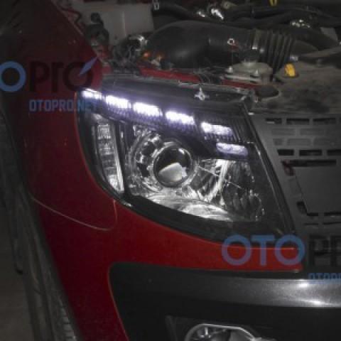 Độ đèn bi xenon, LED mí Audi Q5, vòng Angel eyes cho xe Ford Ranger 2013-2015
