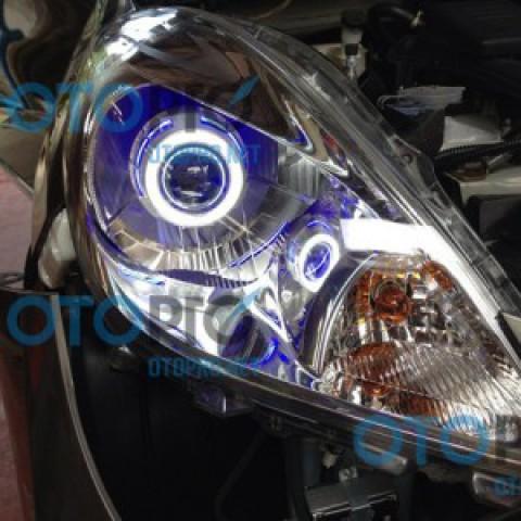 Độ đèn bi xenon, angel eyes LED cho xe Nissan Sunny