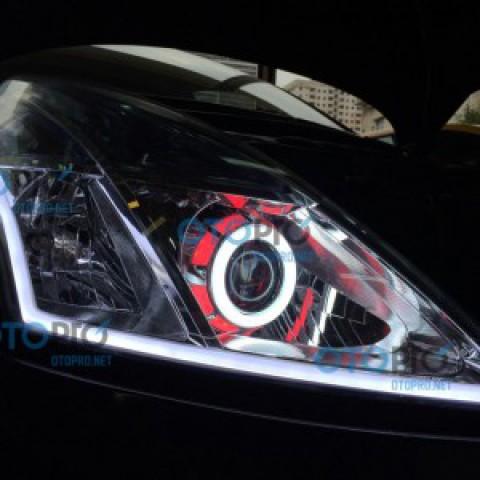 Độ đèn bi xenon, angel eyes, LED mí khối cho xe Teana