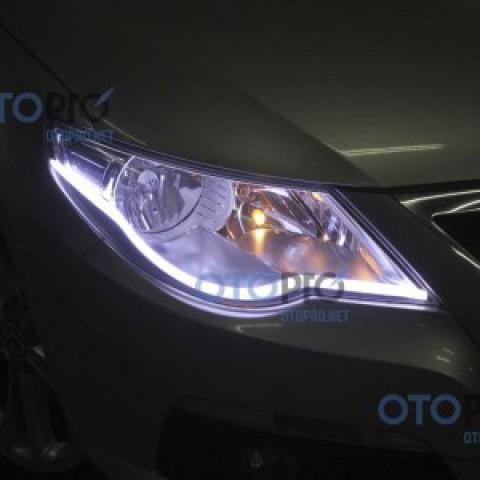 Độ dải LED mí khối trắng vàng cho xe Wolkswagen Tiguan