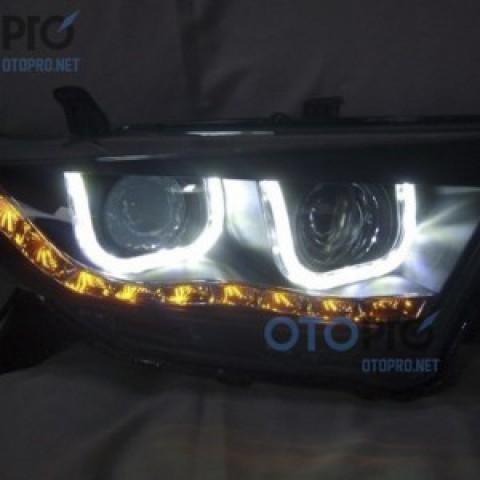 Đèn pha độ LED nguyên bộ xe Highlander 2012 mẫu chữ U 2 bi