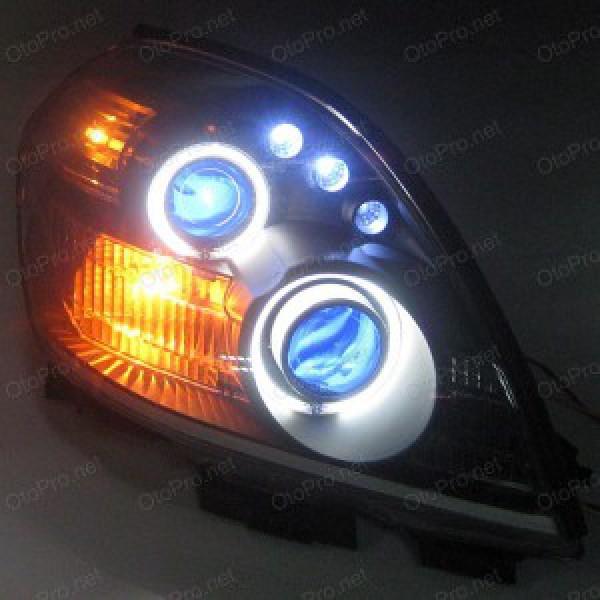 Đèn pha độ LED nguyên bộ xe Teana đời 04-07 mẫu 1 chóa đen