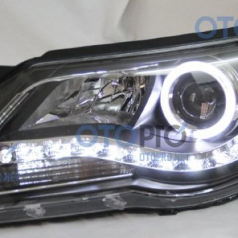 Đèn pha độ LED nguyên bộ cho xe Tiguan mẫu angel eyes khối
