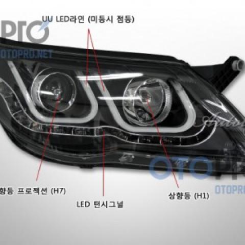 Đèn pha độ LED Volkswagen Tiguan 2010 mẫu BMW chữ U