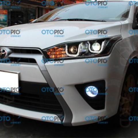 Đèn pha độ LED nguyên bộ xe Yaris 2014-2015 mẫu chữ U 2 bi