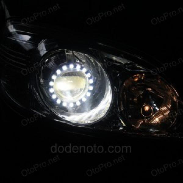 Độ đèn bi Q5, vòng Angel eyes LED lens cho xe Ford Escape