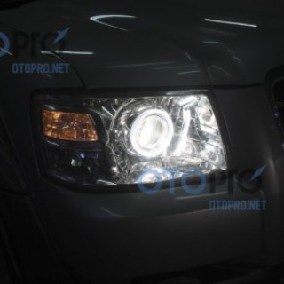 Độ đèn bi xenon, angel eyes LED BMW 2 màu xe Everest