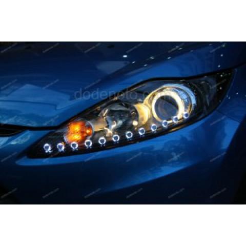 Độ đèn bi xenon, angel eyes, LED mí O-Block cho Ford Fiesta
