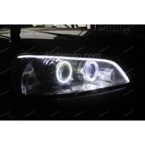 Độ đèn bi xenon, LED mí khối trắng vàng, Angel Eyes BMW cho Ford Laser