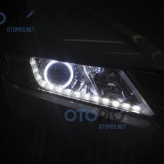Honda City 2015 độ đèn pha bi xenon, angel eyes, LED mí thủy tinh