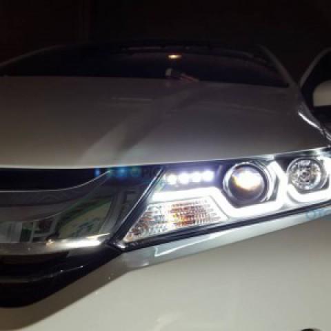 Đèn pha độ LED nguyên bộ cho Honda City 2014-2016 mẫu M4 chóa trắng