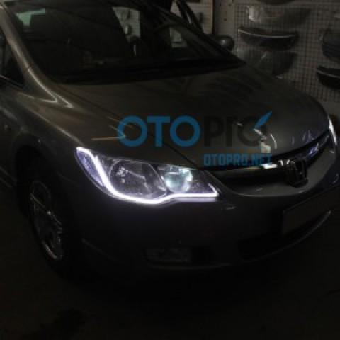 Độ dải LED mí khối trắng vàng cho xe Honda Civic 2011