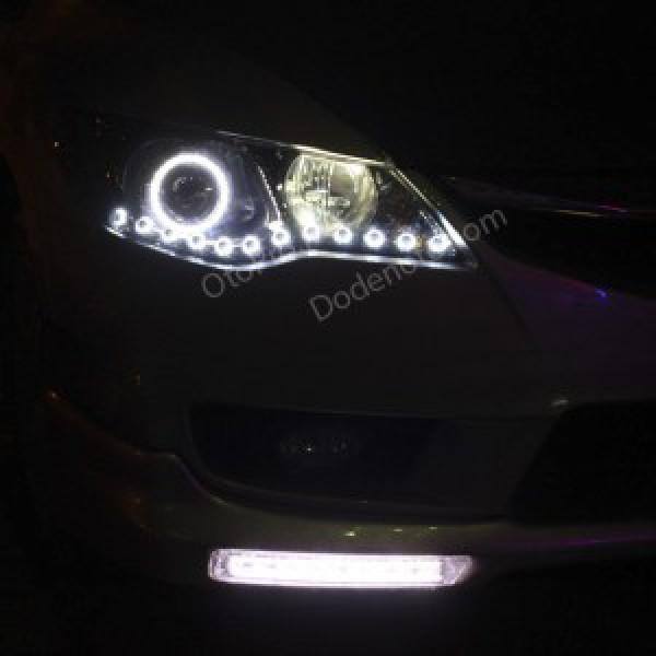 Độ đèn bi xenon, angel eyes, dải led mí oblock cho xe Civic
